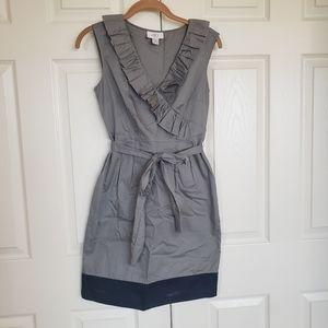 Grey and Black Sheath Belted Dress
